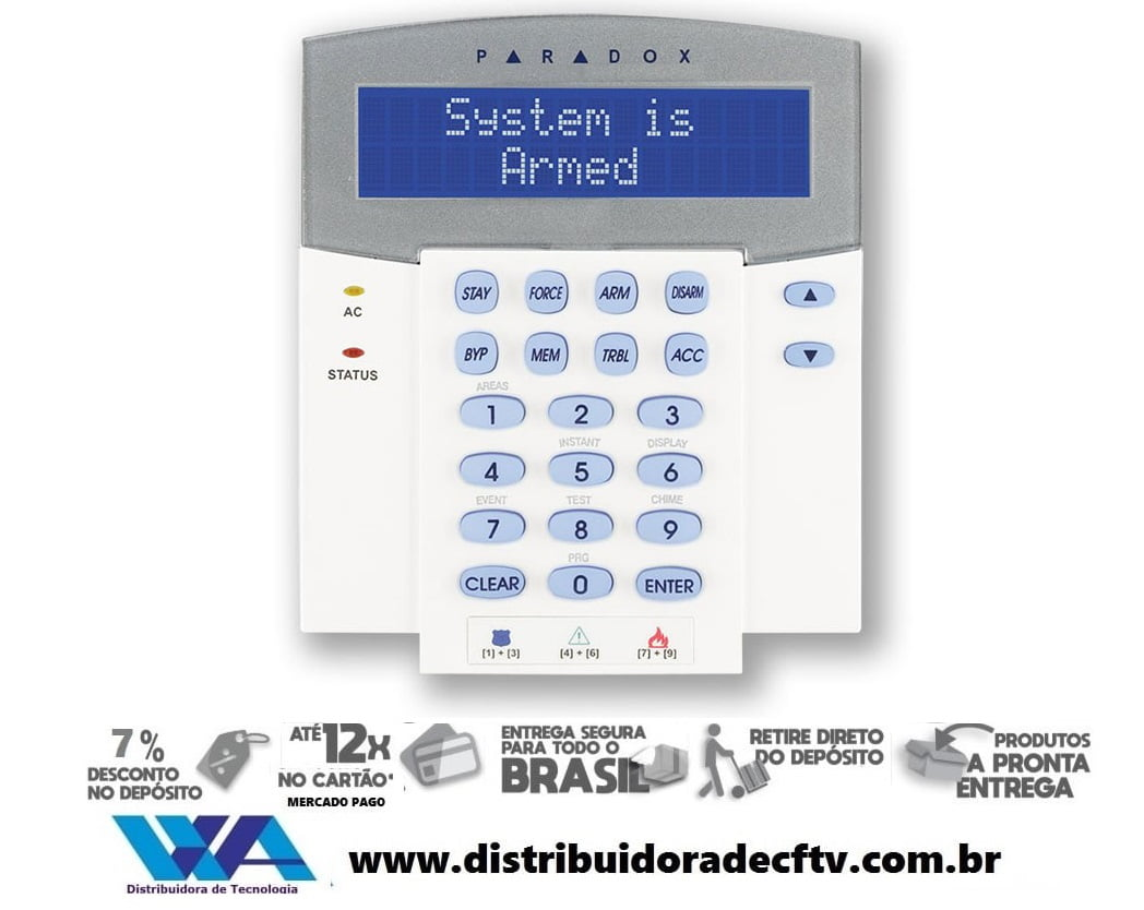 Teclado paradox K641R LCD com controle de acesso para linha Digiplex