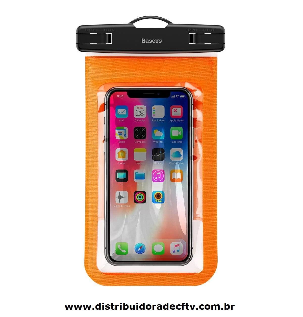 Capa para celular Braçadeira A Prova D'Agua Baseus Air Cushion Laranja