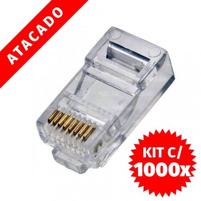 1000 UNIDADES DE CONECTOR RJ45 CAT5 PACOTE