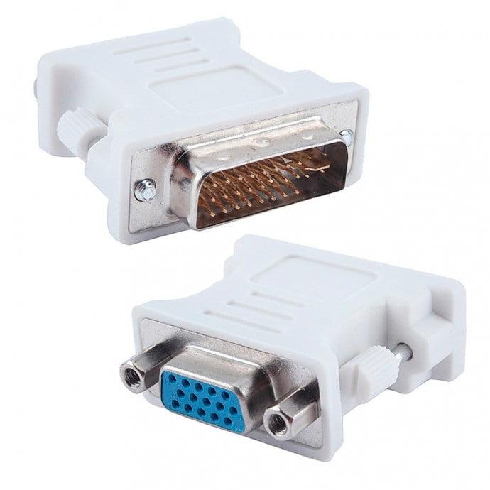 Adaptador DVI-I 24+5 Pinos Macho Para VGA Femea 15 Pinos