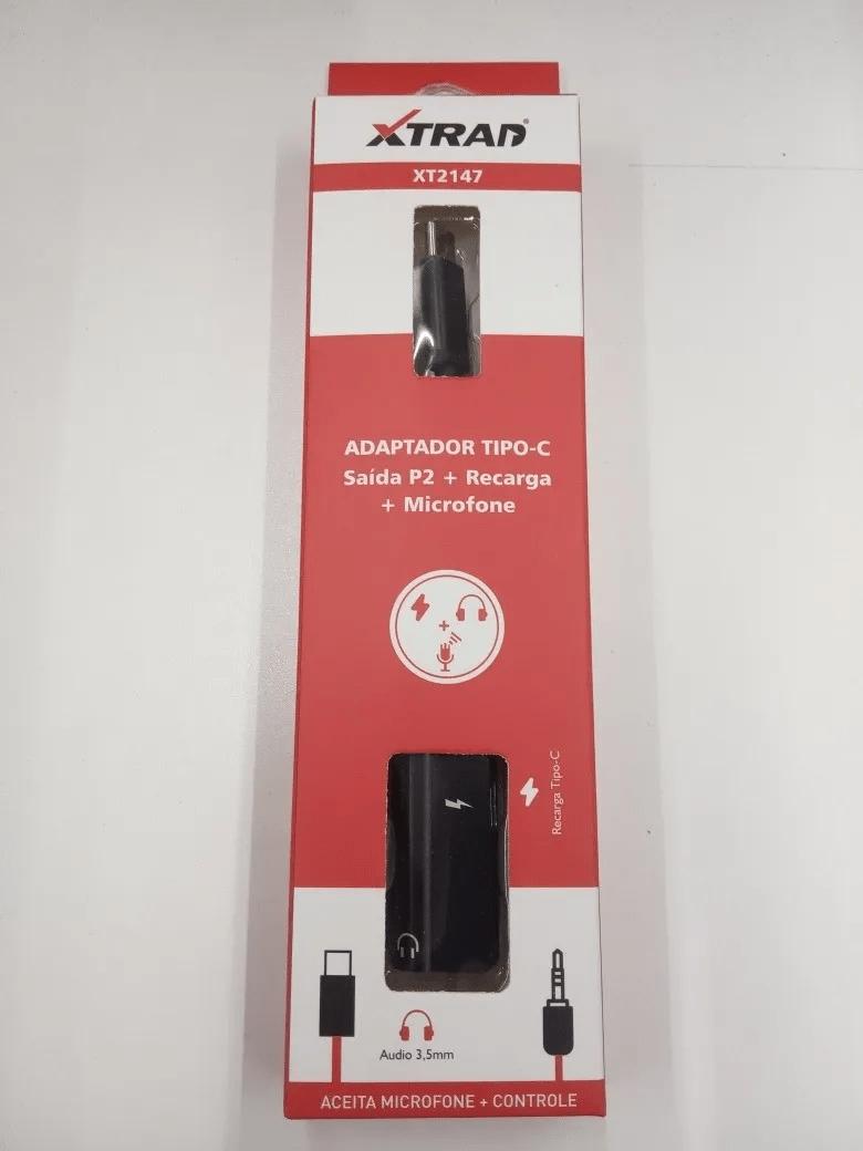Adaptador Usb Tipo C Carregador Fone P2 3.5mm Saída Dupla