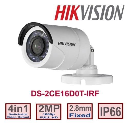 Câmera Hikvision DS-2CE16D0T-IRF 2MP de segurança infra vermelho lente 2.8mm