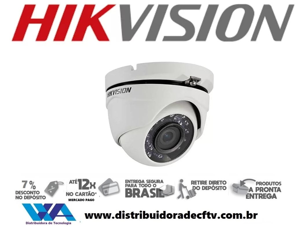 Câmera de segurança infra vermelho dome Hikvision DS-2CE56C0T-IRM Lente 2.8mm 2 em 1 TVi/CVBS