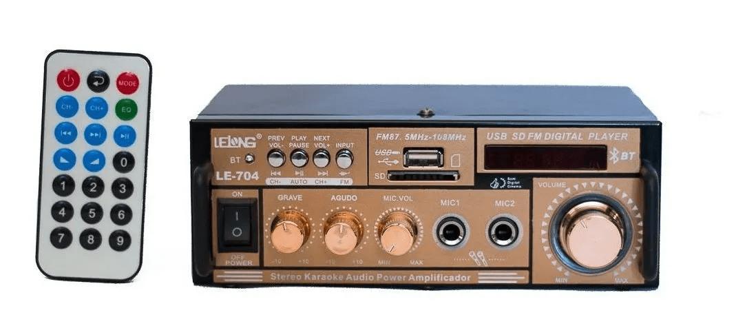 Amplificador Receiver Potência Módulo Som Bluetooth 2 Canais