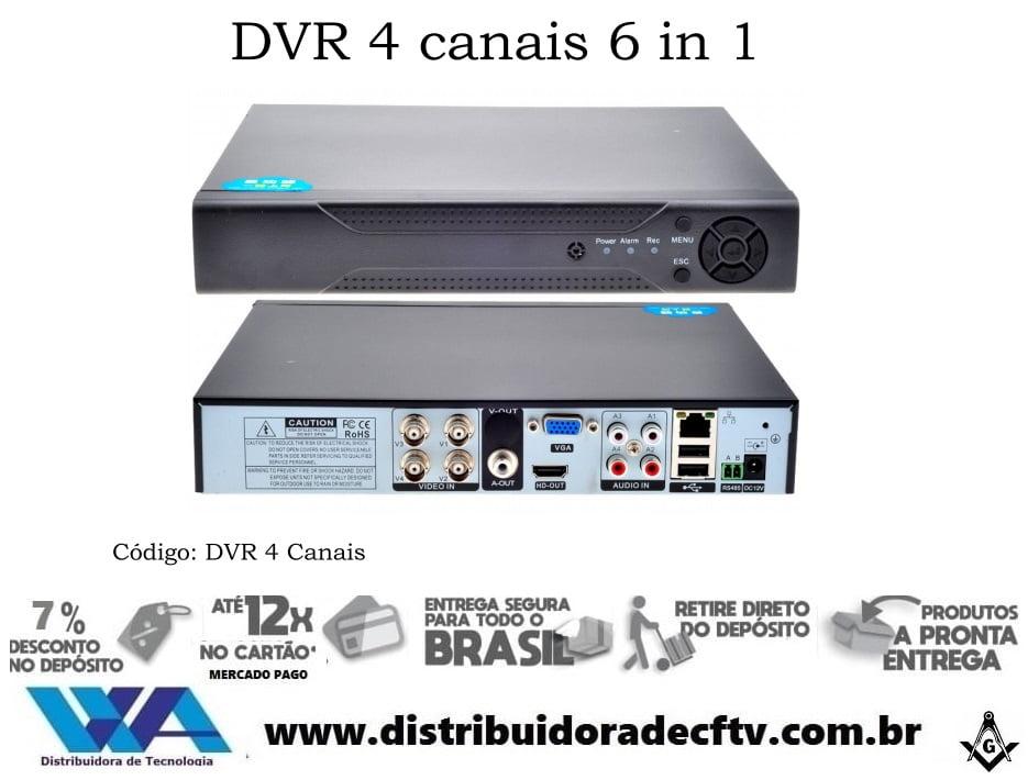 Gravador digital Dvr Stand alone 4 canais ahd 6 en 1