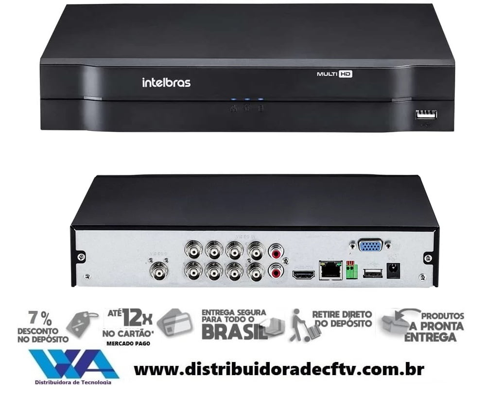 DVR stand alone para segurança e cftv Intelbras MHDX 1108 Multi HD - 8 Canais 1080p Lite + 2 Canais 6Mp IP