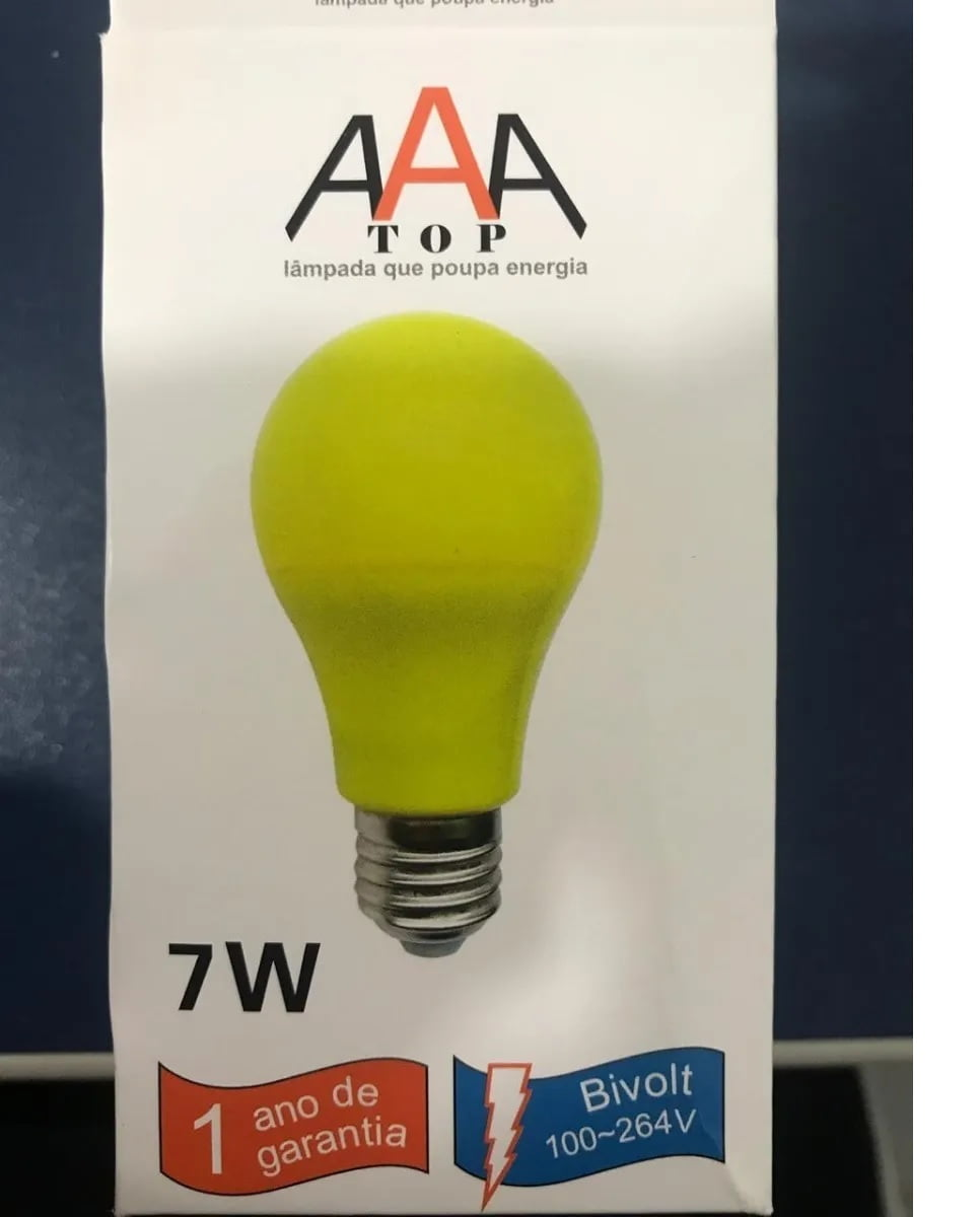 Lampada Bulbo 7w Led Bivolt Colorido Amarelo