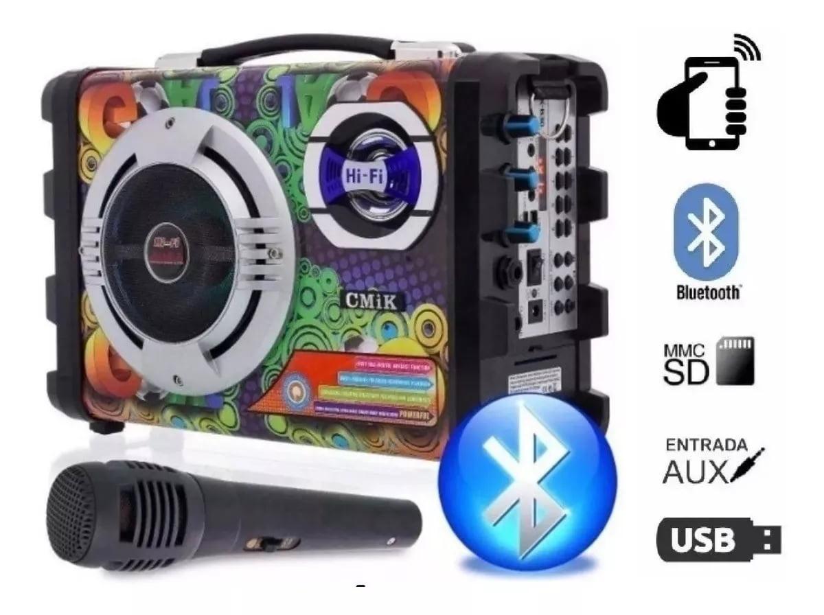Caixa De Som Portátil Bluetooth Amplificada Microfone