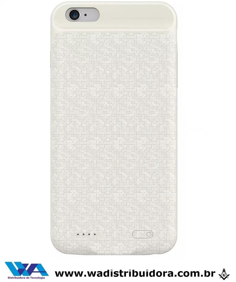 Capa Carregadora Baseus Plaid iPhone 6s Plus 3650mah Branco + nota fiscal
