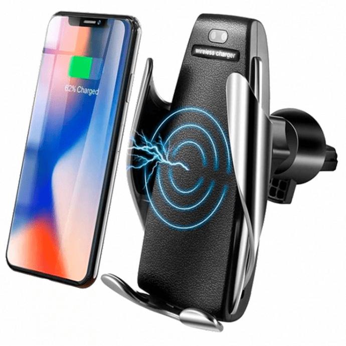 Suporte Veicular Sensor a Laser com Fechamento Automático e Carregador sem fio PINGUIM - S5