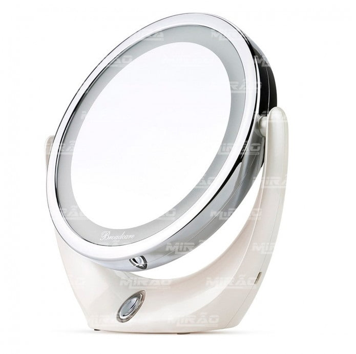 Espelho Dupla Face de Maquilhagem com Luzes Giro 360 Graus - BC-1007