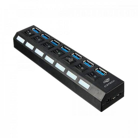 HUB USB 3.0 Portas com Chave HU-S370 Preto C3TECH