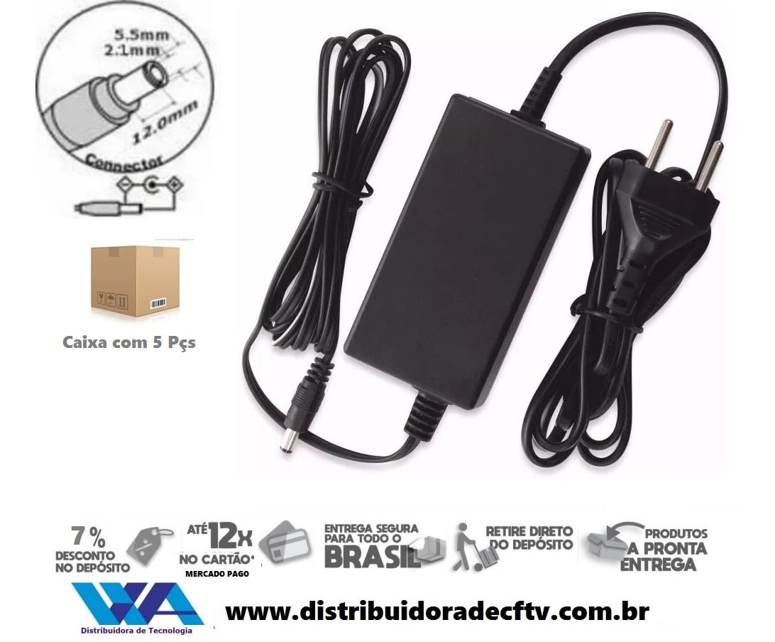 Fonte de Alimentação 12 volts 3 amper plástico - Cftv - Lampada led - Segurança - Atacado - Caixa 5 pçs