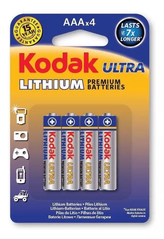 Pilha Kodak De Litio Ultra Aaa Embalagem Com 4 Unidades