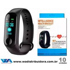 Relógio Tipo Pulseira Inteligente M3 Bluetooth Mede Batimentos Tira Pressão Arterial Importado Com Função Bluetooth Full
