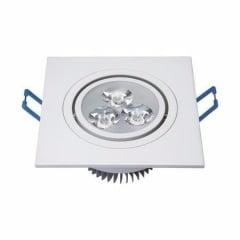 Luminárias de Teto Spot Super LED 12W Branco Frio Redonda Direcionável com moldura Quadrado Direcionável Sanca, Gesso Teto
