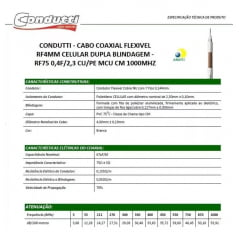 Cabo Coaxial Bipolar Dupla Blind. 4mm 100m 80% Cftv Condutti