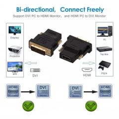 Conector Adaptador DVI D 24.1 F X HDMI Femea Banhado de Ouro - original