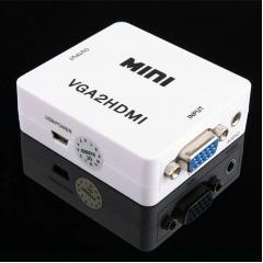 Mini Adaptador Conversor Hdmi P/ Vga Transmite Áudio E Vídeo