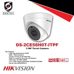 Câmera Hikvision DS-2CE56H0T-ITPF 5 MP Dome Camera, OSD menu, 2D DNR, DWDR, lente 3,6mm