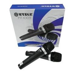 Microfone Duplo Profissional C/fio 5m Metal Le-1003