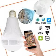 Camera de segurança e vigilância Ip Panoramica Lampada Espia Wifi