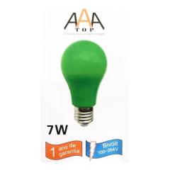 Lâmpada Led A A A Top Colors Verde 7w Econômica E-27 Bivolt