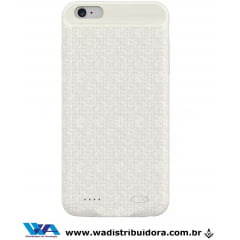 Capa Carregadora Baseus Plaid iPhone 6s Plus 3650mah Branco + nota fiscal