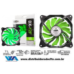 Cooler Fan 120MM Com Led Verde DX-12F-Verde