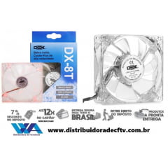 Cooler Fan 8x8 Transparente LED Vermelho - 8T