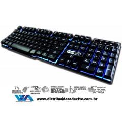 TECLADO HARDLINE GAMER USB ANTI GHOSTING COM 3 CORES ILUMINAÇÃO LED KB 7010