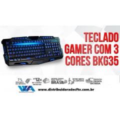 TECLADO USB GAMER C/ 3 COR ILUMINAÇÃO BK-G35 EXBOM