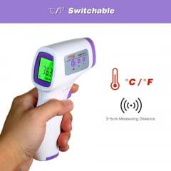 Termômetro digital de testa infravermelho LCD Termômetro infravermelho portátil Termômetro infravermelho sem contato com medidor de temperatura