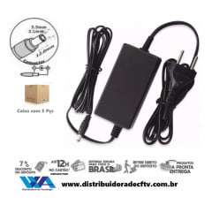 Fonte de Alimentação 12 volts 5 amper plástico - Cftv - Lampada led - Segurança - Atacado - Caixa com 5 pçs