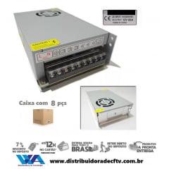 Kit 8 Fonte Chaveada Estabilizada 12v 50 Amperes Bi-volt - Atacado - Caixa 8 Pçs