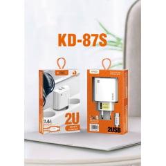 kit carregador de celular kaid Kit carregador 2.4A -2u tipo c Kd87s