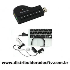 Placa De Som Externa Usb Adaptador Sound 8.1 Piano 3d - XT2027