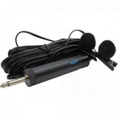 Microfone de Lapela Duplo com Fio ML100DR Preto LESON
